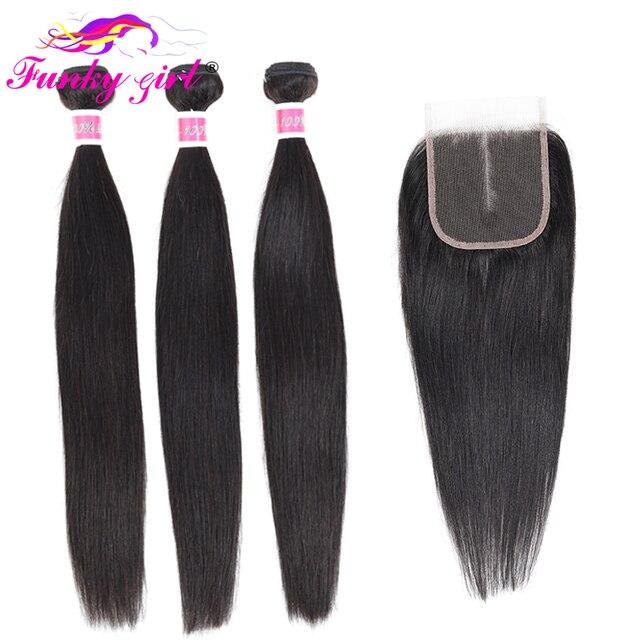 Funky Mädchen Erweiterung Brasilianische Gerade Haarwebart 3/4 Bundles Mit 5*5 Spitze Schließung Remy Menschliches Haar Bundles Mit verschluss 28 zoll