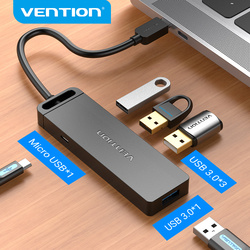 Vention USB C 3.1 HUB USB-C to USB 3.0 Switch 4 Port with Micro USB Charging Port for MacBook Pro Huawei Mate 30 OTG Type C HUB