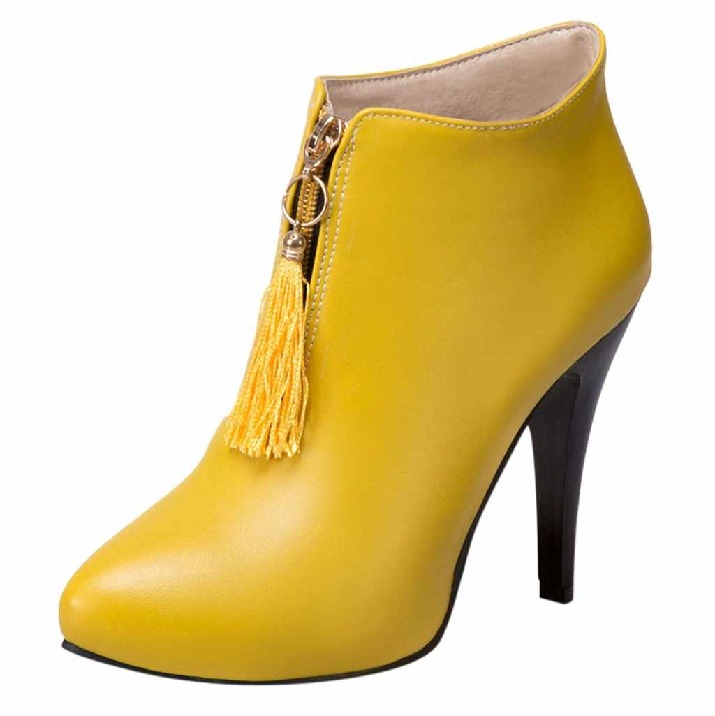 Kış fermuar yarım çizmeler seksi bayanlar Stiletto topuk ayakkabı kadın Retro tarzı püskül yüksek topuklu çizmeler ön çizmeler botas feminina