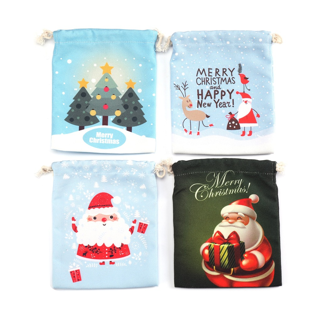New Women Men Drawstring Bag Kids Candy Coin Money Happy New Year MerryChristmas Gift Bags Pouch Case