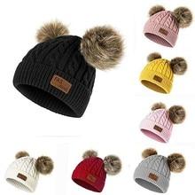 Мужская и женская шапочка, однотонная мягкая теплая вязаная шапка, мешковатая вязаная шапка, повседневная хлопковая шапка, зимняя шапка большого размера, лыжная громоздкая шапка# N28