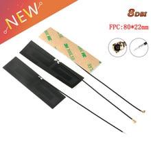 Antena interna 8dbi fpc, antena de 2g, 3g, 4g, lte, conector 80*1 peça conector ipex longo de 8cm, modem sem fio de 22mm