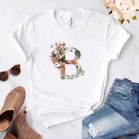 Camiseta con estampado de carta hermosa para mujer, playera con estampado de flores para mujer, top Harajuku, camiseta de manga corta oversize para mujer