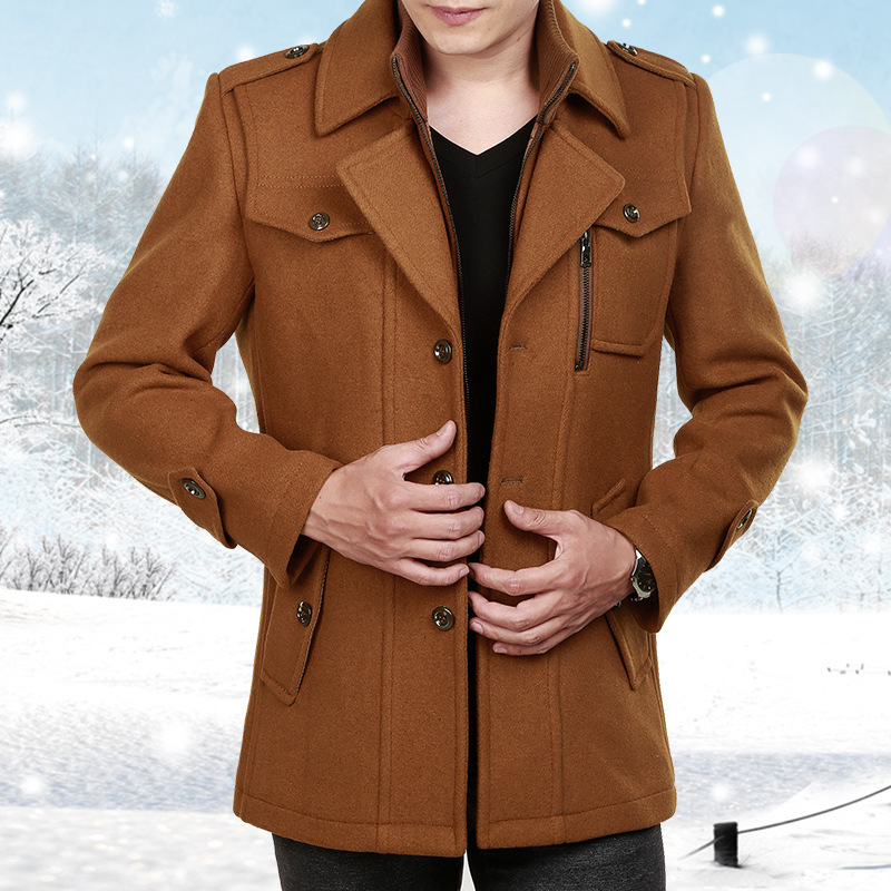 Male Long Wool Windbreaker Jacket Thick Thermal Trench Coat Long Sleeve Khaki Mens Overcoat Plus Size Winter Men Woolen Coat