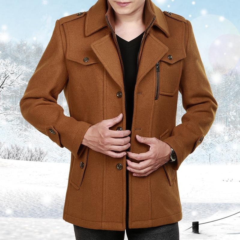 Male Long Wool Windbreaker Jacket Thick Thermal Trench Coat Long Sleeve Khaki Mens Overcoat Plus Size Winter Men Woolen Coat