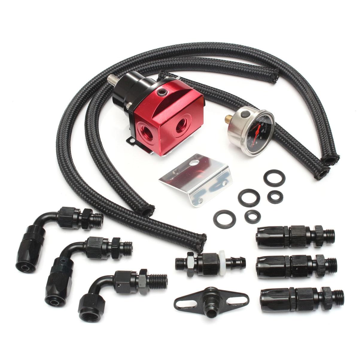 Racing Car Billet Fuel Pressure Regulator Guage Kit Oil Line 100PSI Guage fpr AN6 Oil Hose Fitting EFI