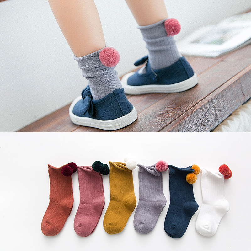 Pom Pom Cotton Kids Socks For Girls Baby Clothes Princess Accessories For Autumn And Winter 2019 Cute 1-3-5-8 Years Old
