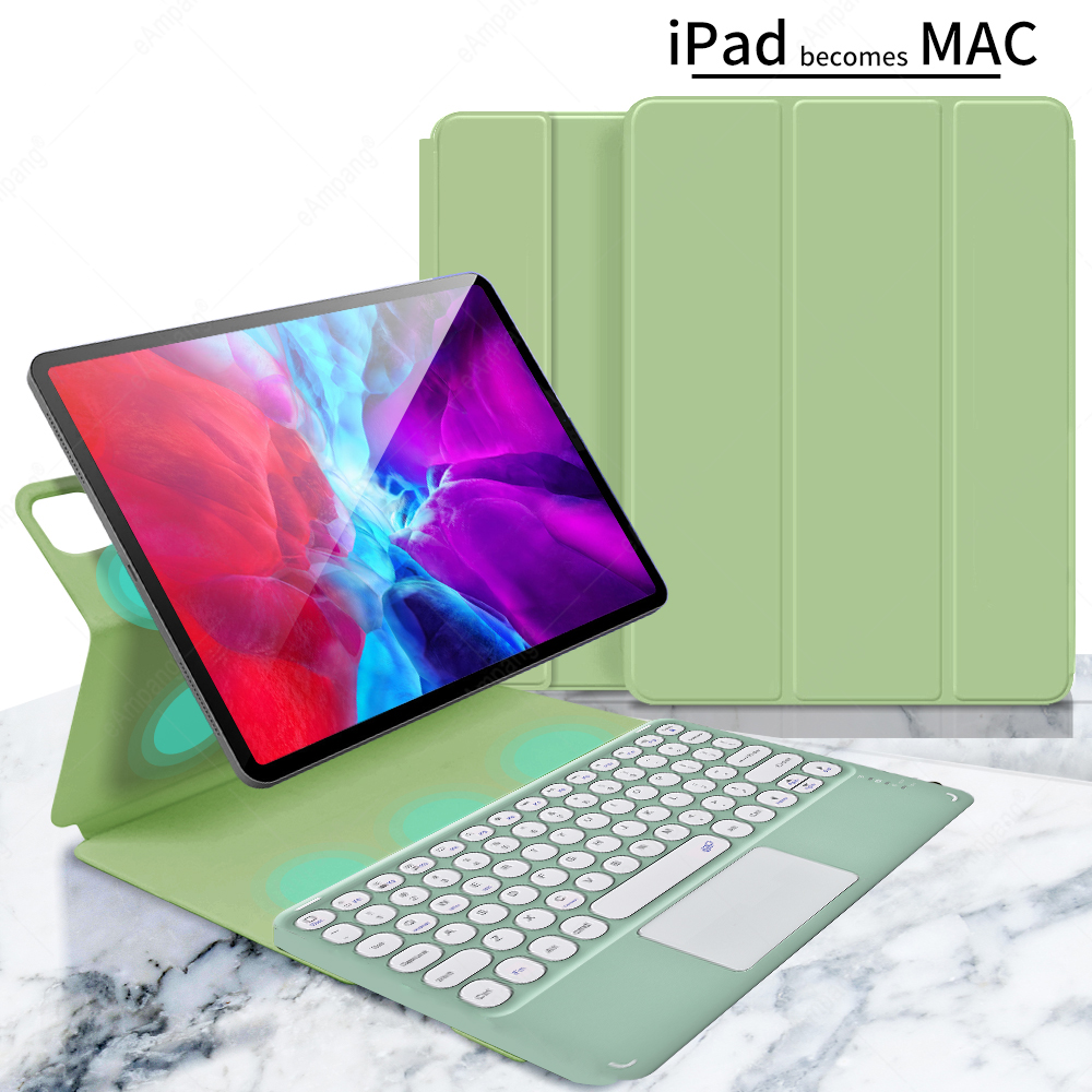 green with green Red For iPad Pro 11 2021 2020 2018 A2301 A2459 A2460 Magnetic Case Keyboard Spanish Russian Korean