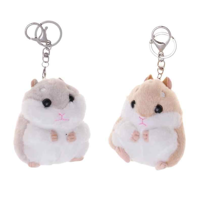 Cartoon Soft Plush Hamster Toy Doll Key Chain Keyring Stuffed Mouse Toy For Bag