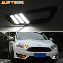 JAZZ TIGER Turn Yellow Signal Relay Waterproof 12V Car LED DRL Lamp LED Daytime Running Light For Ford Focus 2015 2016 2017 2018