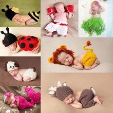 Fotografia recém-nascido adereços crothet roupas de bebê menino meninos acessórios infantil menina traje crochê feito à mão outfit