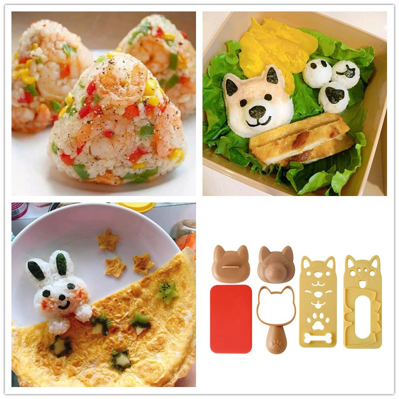 1 Set Cute Smile Cat Sushi Rice Mold Decor Cutter Sandwich DIY Tool Japanese Rice Ball Christmas Tree Halloween Pumpkin Molds