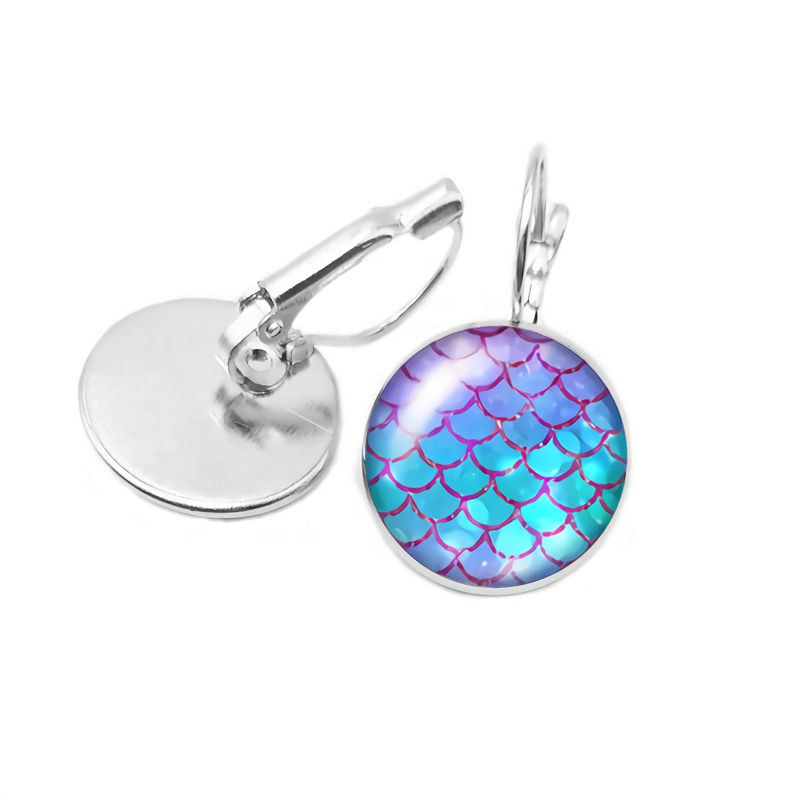 NEW/2019 Best Selling Ladies Earrings Fashion Art Dragon Scales Scales Glass Convex Earrings Children\'s Gift Jewelry