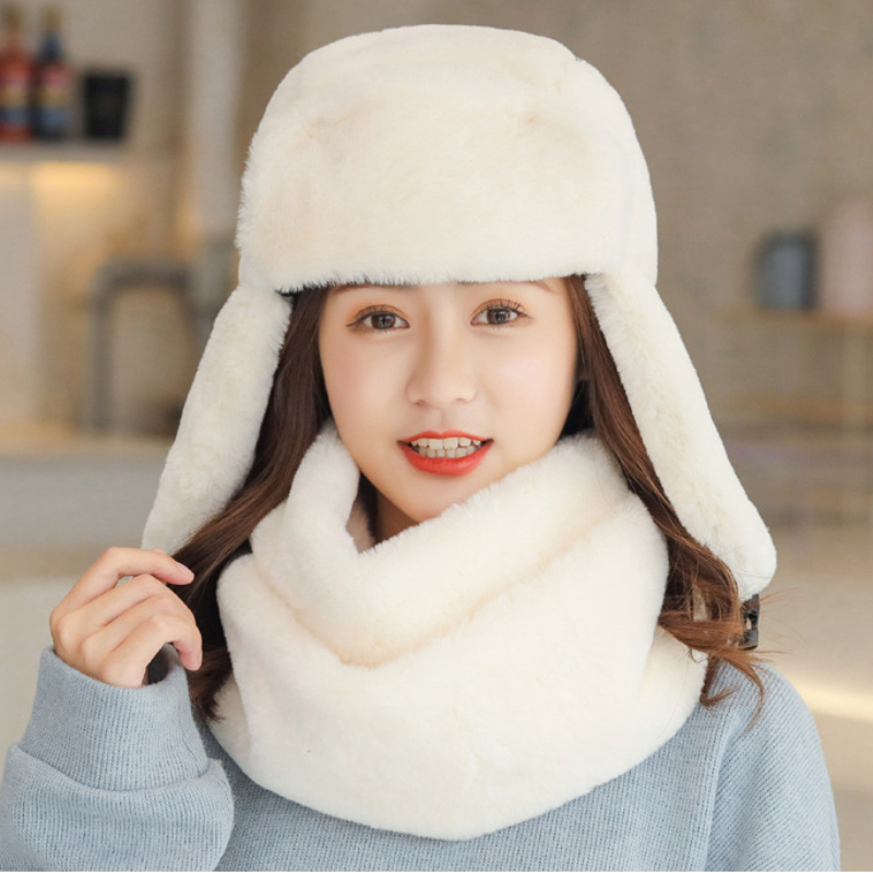 HT2763 Hat Scarf Set Winter Accessories Thick Warm Ski Russian Hat And Scarf Soft Flush Fur Earflap Russian Cap Lady Winter Set