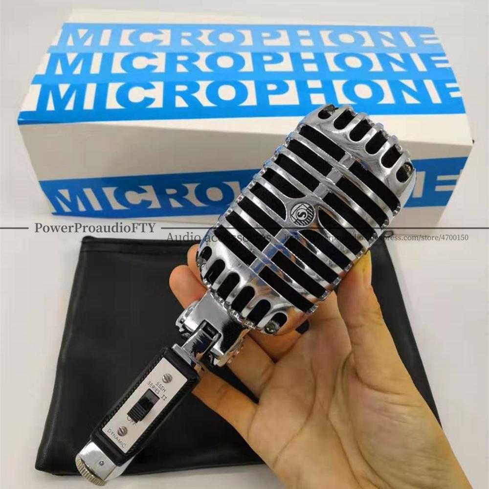 55SH dynamique Vocal rétro filaire Microphone bureau debout support de micro trépied pour KTV Vintage Microfone karaoké Mike-in Microphones from Electronique    1