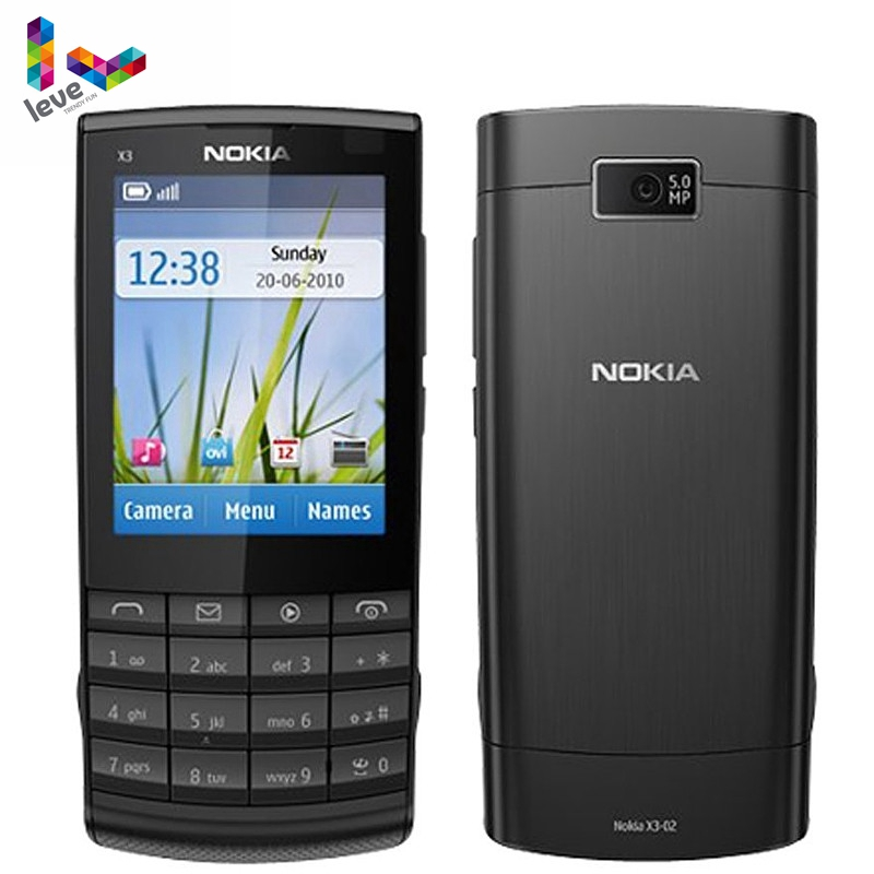 <font><b>Nokia</b></font> X3-02 Original Mobile <font><b>Phones</b></font> GSM 3G Wifi Bluetooth <font><b>5MP</b></font> <font><b>Camera</b></font> Support Russian Keyboard Refurbished Unlocked Cell <font><b>Phone</b></font> image