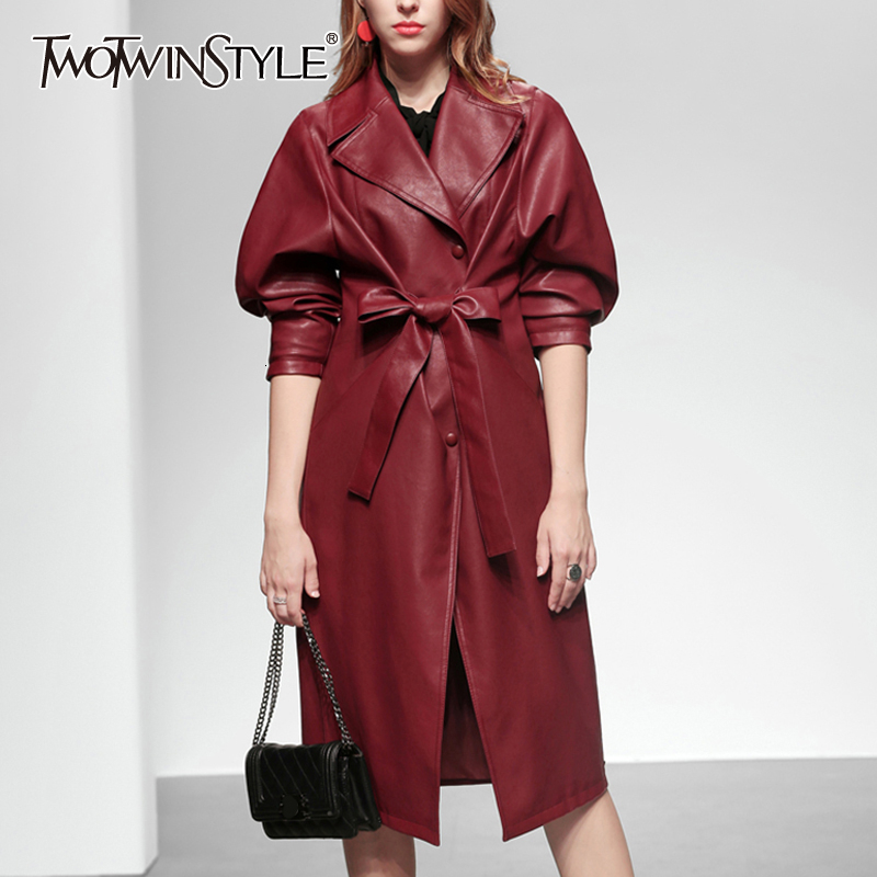 TWOTWINSTYLE Vintage Bow Women's   Trench   Coats Lapel Collar Long Sleeve High Waist Lace Up Tunic Windbreakers Female Fashion Tide