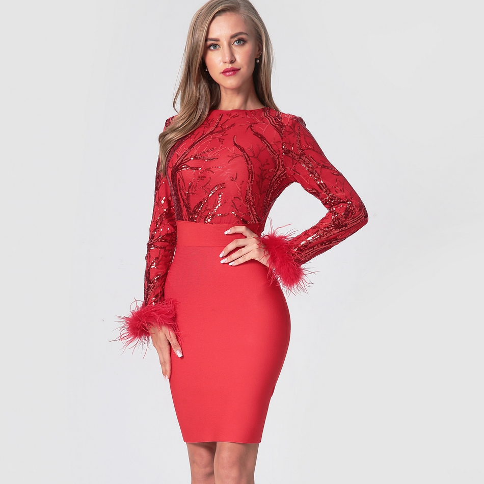 2020 New Fashion Bandage Dress Women Long Sleeve O-Neck Sequined Red Sexy Club Evening Party Above Knee Bodycon Dress Vestidos