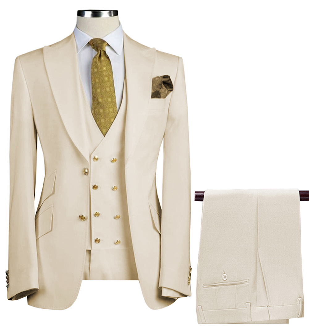 Men Suits 3 Pieces Slim Fit Business Suits Groom Army Green Noble Grey White Tuxedos For Formal Wedding Suit(Blazer+Pants+Vest)