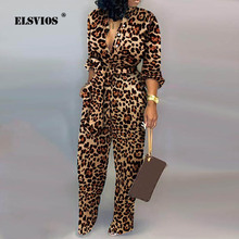 Women Autumn sexy Deep V Neck Long Sleeves Overalls Letter Leopard Print Jumpsuit