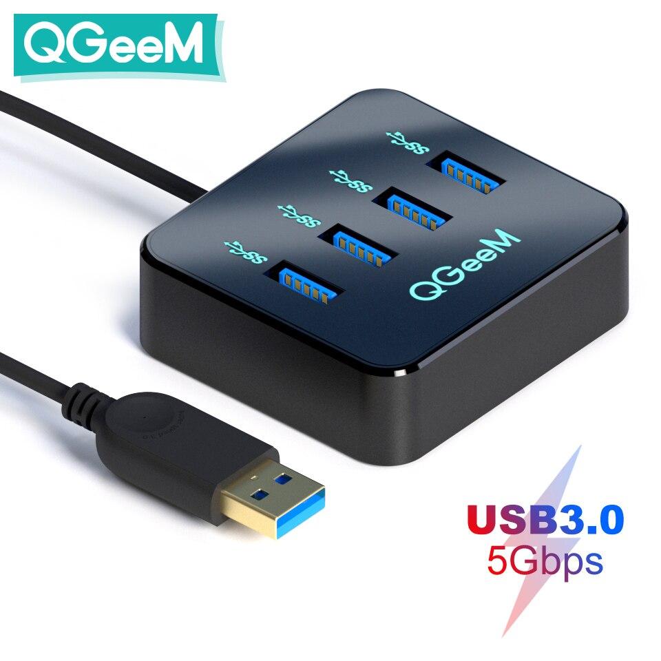 QGeeM USB Hub 3.0 Adapter USB Splitter for Xiaomi Notebook Macbook Pro 2015 iMac 4 Ports USB 3.0 Hub for PC Computer Accessories