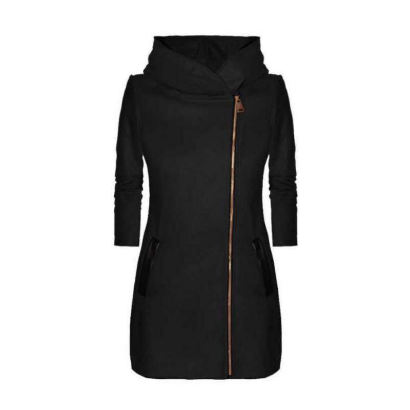 Winter Women Hooded Trench Turtleneck Zipper Plus Size New Casual Warm Thicken Velvet  Coat NEW!
