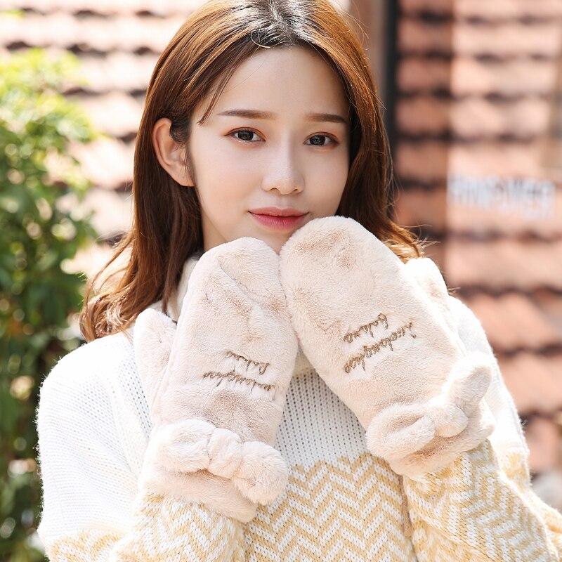Rabbit Fur Women Gloves Keep Warm Autumn Winter Young Female Mittens Thick