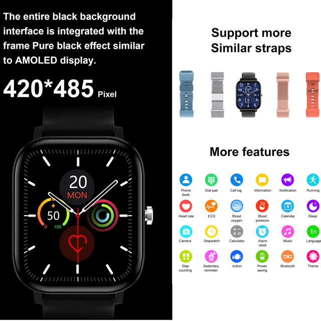 2020 HD 1.75 Inch Smartwatch Men full touch Multi-Sport Mode VS P8 Smart Watch Women Heart Rate Monitor For iOS Android 3