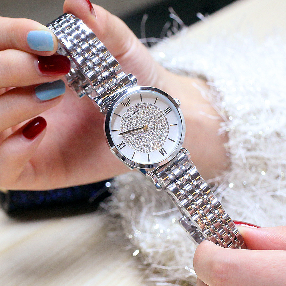diamante relógio de pulso mulher aço à