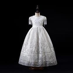 Платья с цветочным узором для девочек на свадьбу; Цвет белый; единый цвета слоновой кости; платья для девочек; пышные платья для детей