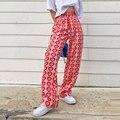 Женские прямые брюки Y2K, длинные штаны с высокой талией и принтом в виде розовых сердечек, уличная одежда в стиле Харадзюку на лето 2021