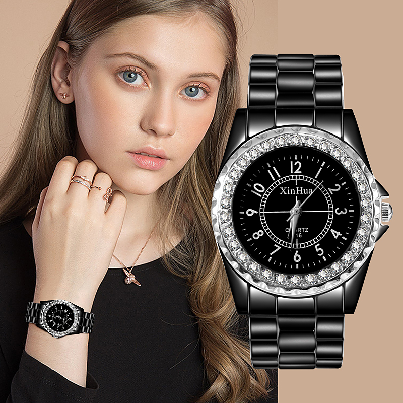 XINHUA Luxury Brand Full Stainless Steel Watches Relogios Women's Watch Black Gemstone Ladies Clock Fashion Rhinestone