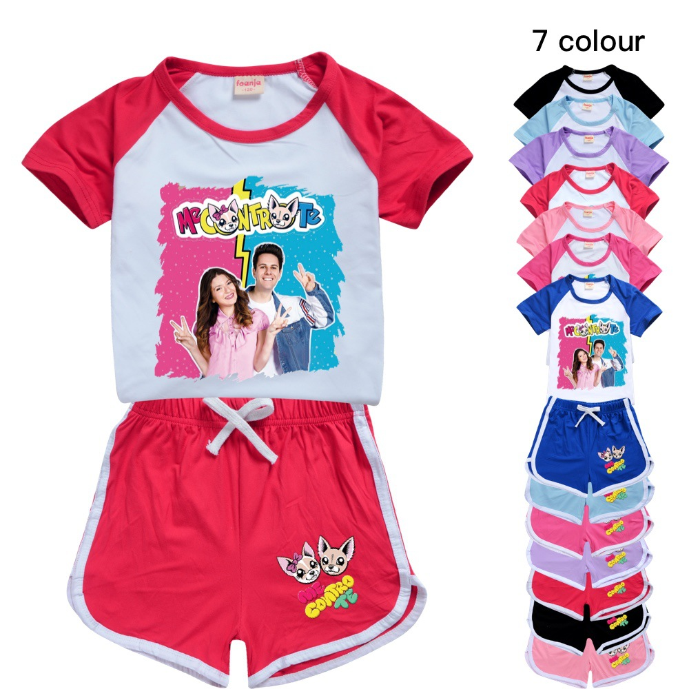 Teens Girls Outfitsme Boutique Kids Clothing Polyester Me Contro Te Kids Summer Boutique Clothing Boys Sport Shirt + Short Sets 1
