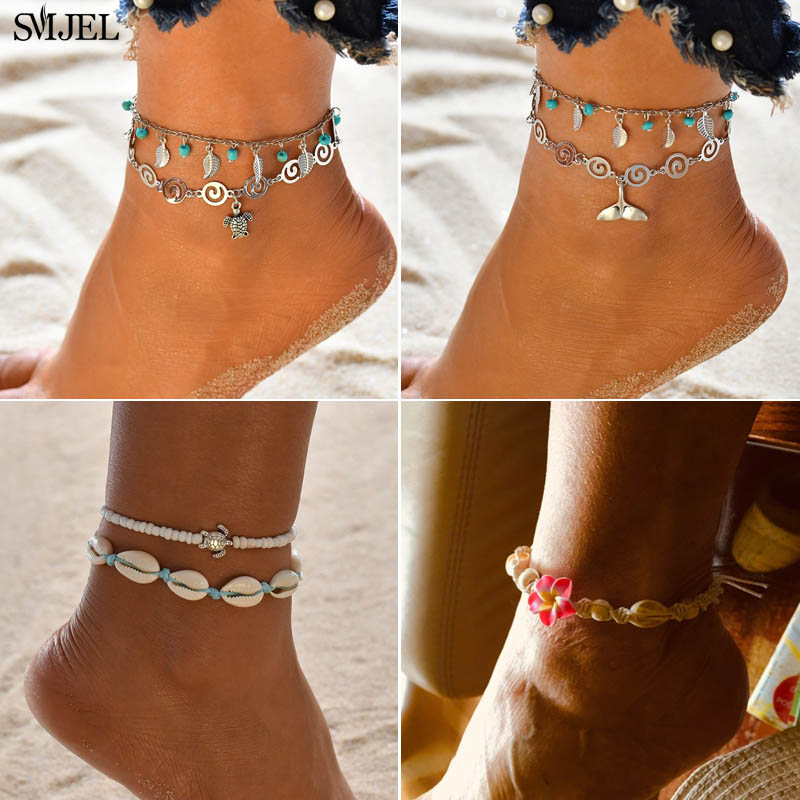 SMJEL New Turtles Tortoise Charm Ankle Bracelet Women Fashion Vintage Animal Flower Jewelry Daisy Shell Anklets for women mujer
