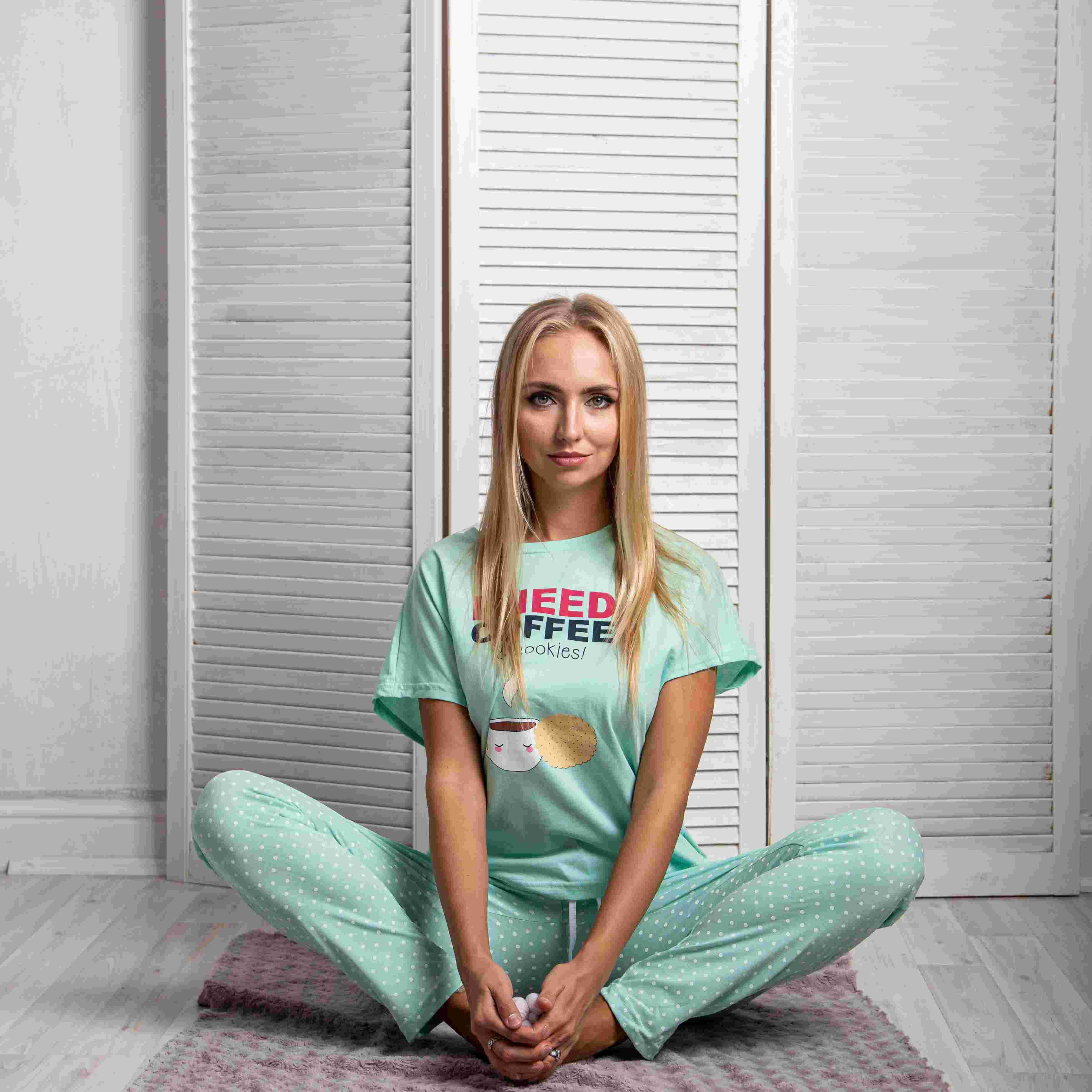 Atoff Home Pajamas Female ZHP 026 (mint/pink With Peas)
