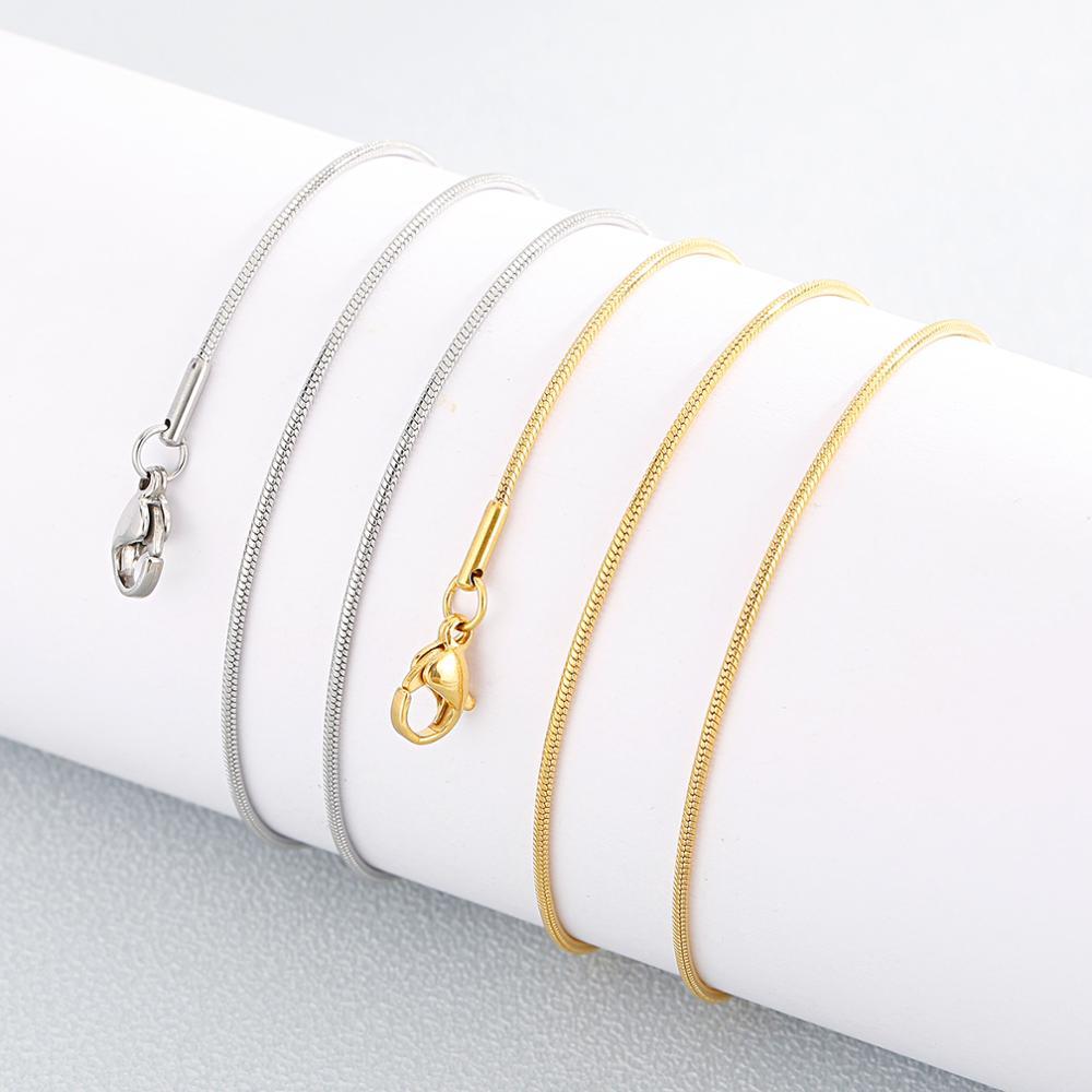 0.9/1.2mm de aço inoxidável mini redondo cobra corrente colar para meninas femininas