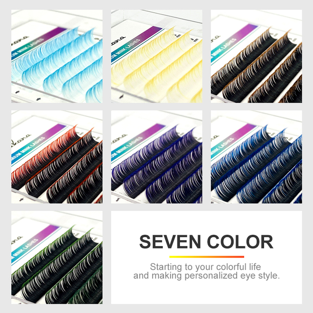 NATUHANA 12Rows Ombre Colored Lashes White False Eyelashes Individual Faux Mink Gradient Color Eyelash Extension for Makeup Tool 4