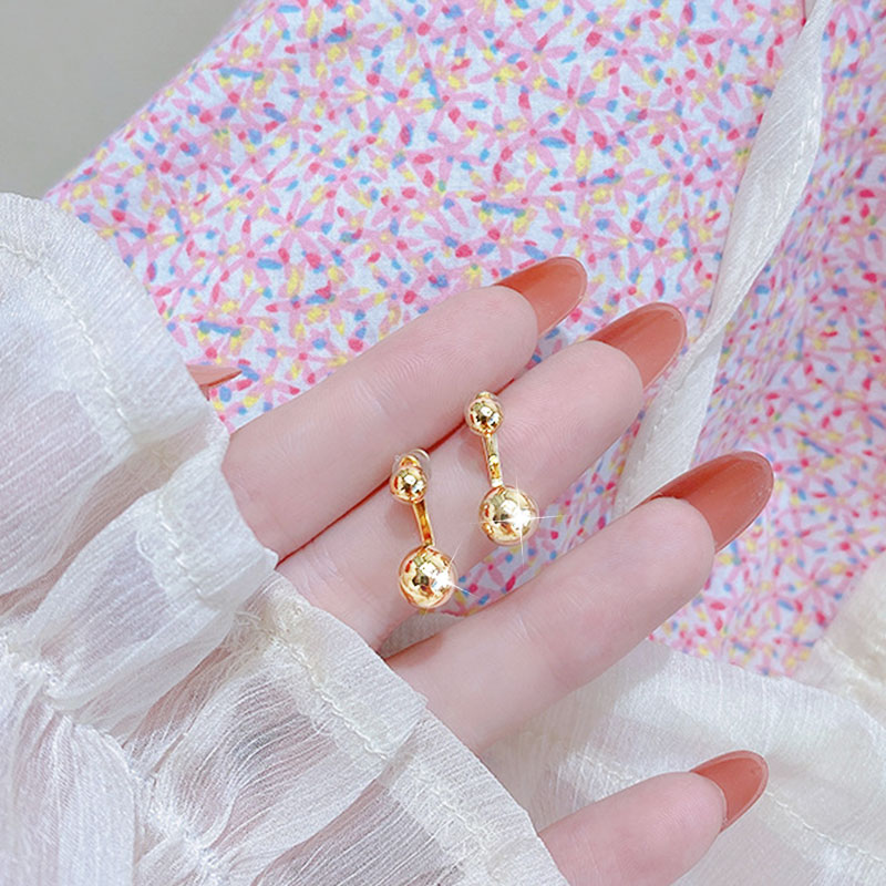 18k Real Gold Metal Earrings Minimalist Buckle Charm Earring Daily For Women Temperament Exquisite Pendant Jewelry Accessories