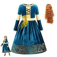 Nova merida meninas merida princesa vestido de manga longa traje natal cosplay roupas festa cosplay crianças fantasia vestidos para meninas