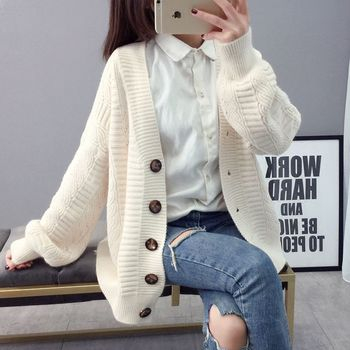 Sweater cardigan jacket female loose Korean student spring and autumn 2021 new sweater trend round button net red hot sale old K 2