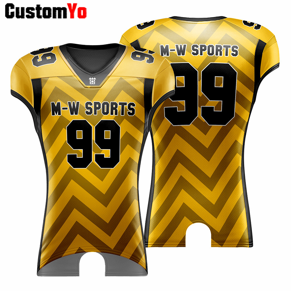M-W Sports Custom Embroidery Logo Name American Jersey Sublimation Comfortable Training American Football Jerseys image
