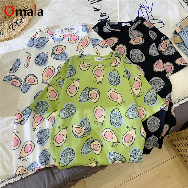 Hot Sale Avocado Print Design T-shirts Women's Oversized Tshirt New Summer White Casual Short Sleeve Women T Shirt Funny Clothes