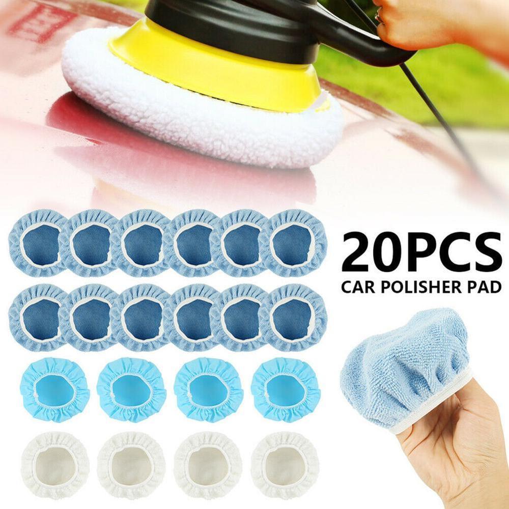 20pcs capo polimento tampao pad polidor de carro capota microfibra capa pad para car pintura cuidados