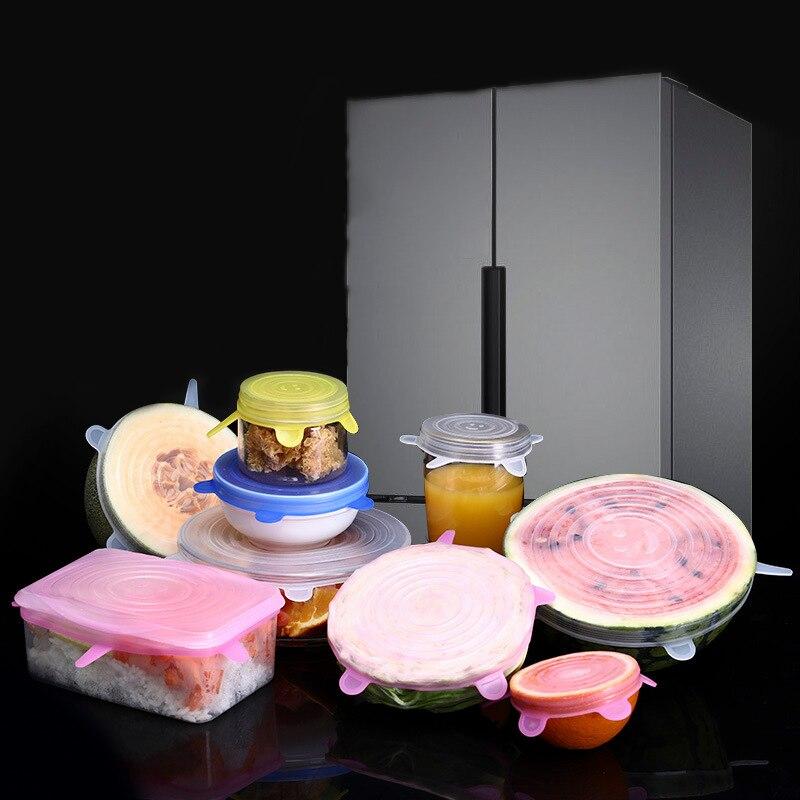 Silicone Fresh-keeping Lid Set Of 6 Stretchable Bowl Lids Refrigerator Food Cling Film Bowl Lids