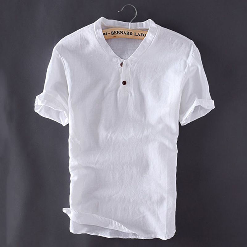 5XL Mens Pullover Cotton Linen Shirts Summer Short Sleeve Man Casual Plus Size Slim Fit White Shirts Y2244