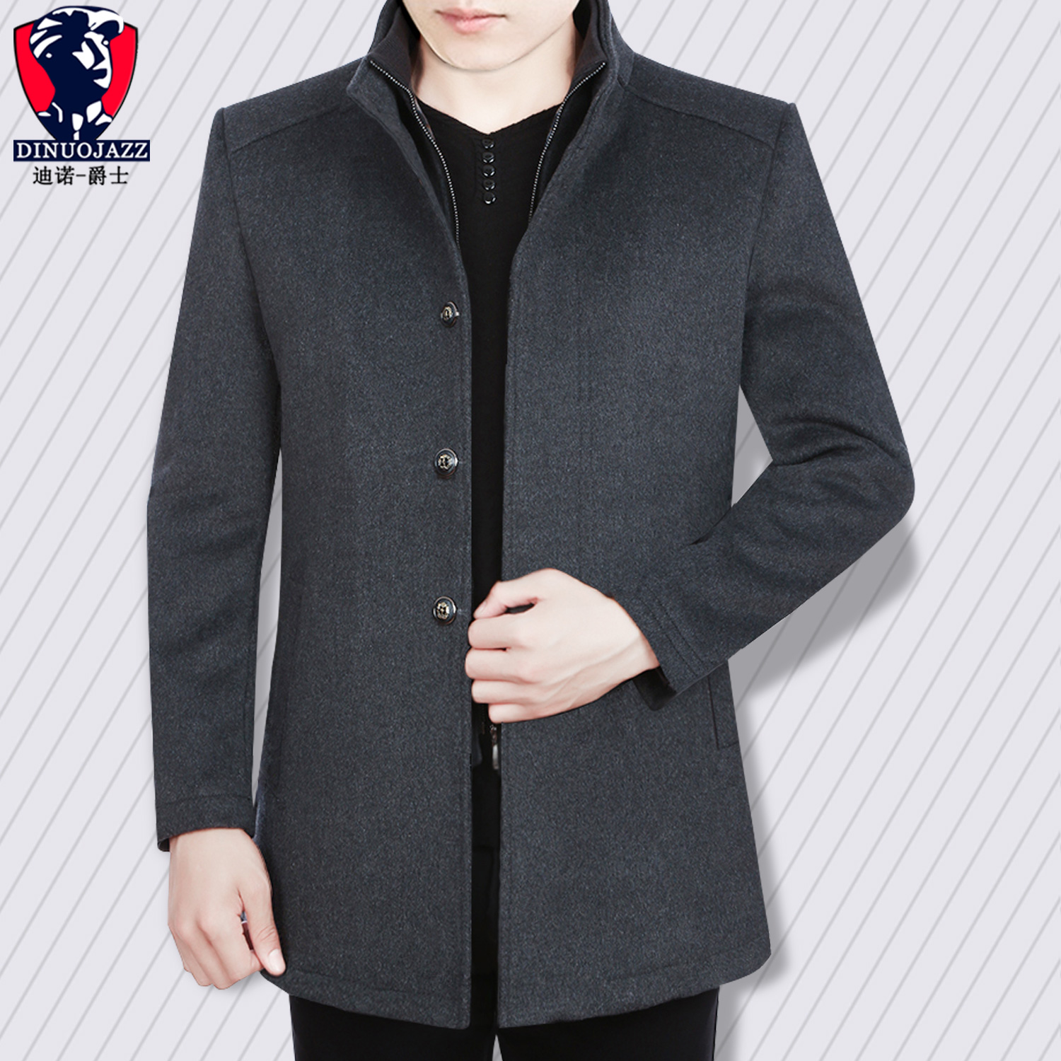 Men's Winter Coat Wool Warm Single-breasted Collar Gray Dark Blue Wine Red Cashmere Classic Men's Top Clothes