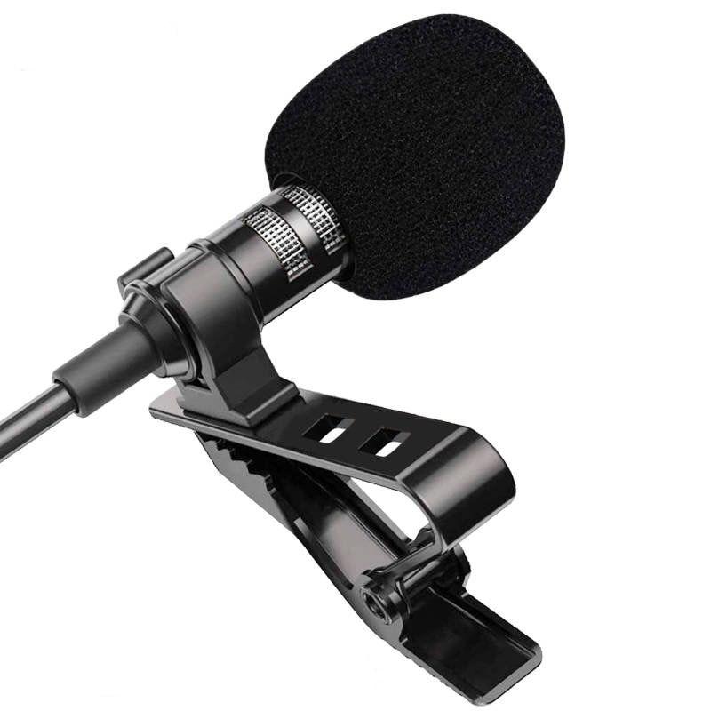 Мини Портативный петличный микрофон 1,5 м, конденсаторный микрофон с зажимом и отворотом, проводной микрофон/микрофон для телефона, ноутбука...