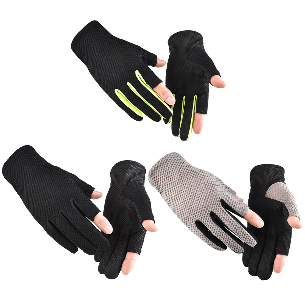 Breathable 2 Finger Cycling Gloves Fishing anti-Slip Pad Motorcycle MTB Road Bike Gloves Men Outdoor Sports Bicycle Gloves image