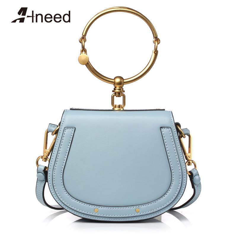ALNEED 2019 Luxury Women Bag Brand Shoulder Bag Half Moon Handbag Fashion Crossbody Bag Genuine Leather Purse Ring Ladies Bag