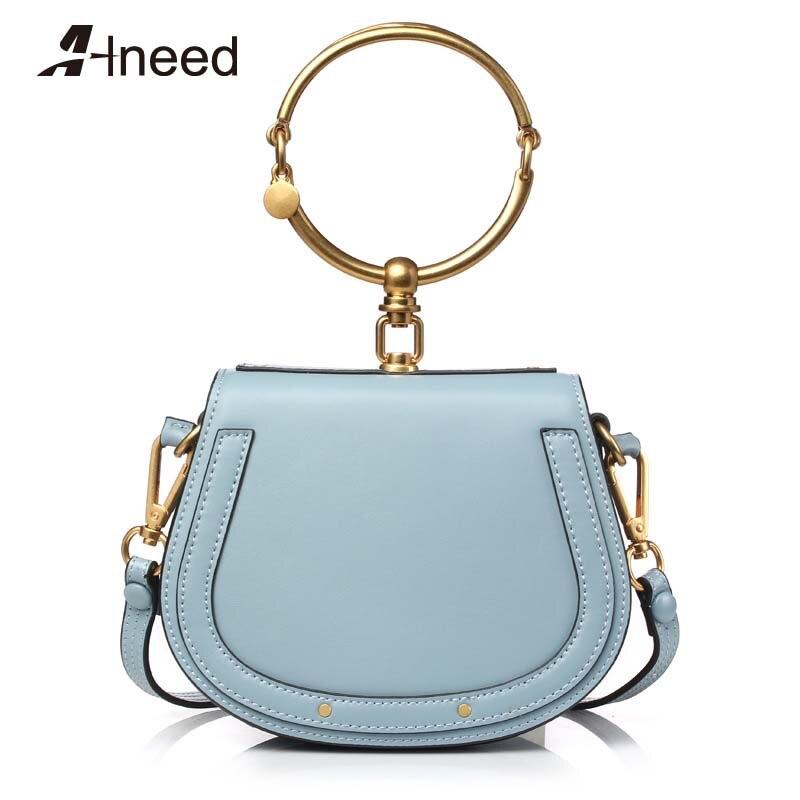ALNEED 2019 luxe femmes sac marque sac à bandoulière demi-lune sac à main mode sac à bandoulière en cuir véritable sac à main anneau dames sac